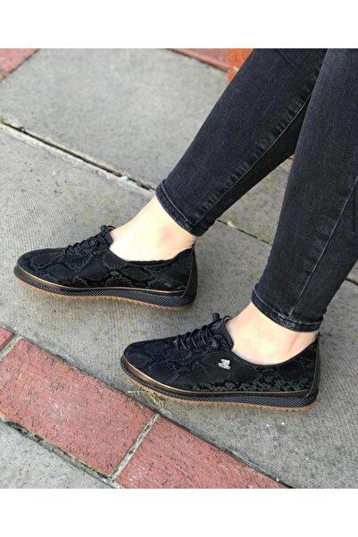 Markopark Kadın Siyah Lastikli Günlük Ortopedik Ayakkabı