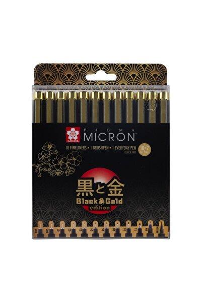 Sakura : Pigma Micron Black & Gold Edition Set : 12 Uç