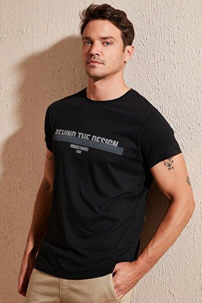 Buratti Erkek Siyah Ön Beden Baskılı Bisiklet Yaka Pamuklu T Shirt 54138
