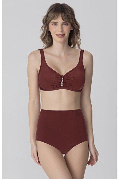 Kom Kadın Kahverengi Toparlayıcı Yüksek Bel Balensiz Bikini