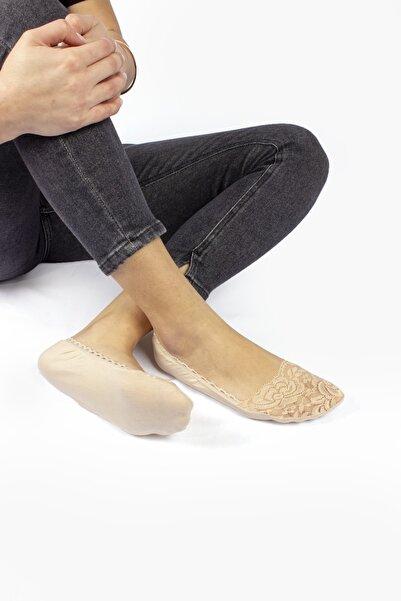 Dr.socks Kadın Ten Gül Desenli Dantelli Babet  Kenarları Oyalı Lastikli Görünmez Çorap