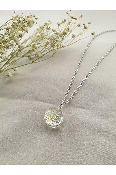 Dukkanka Kadın Yaşayan Beyaz Çiçek Gümüş Renk Kolye