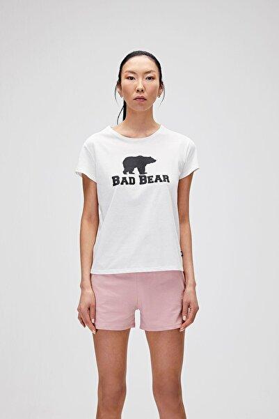 Bad Bear Kadın Kırık Beyaz Tişört Logo Tee