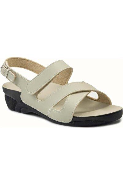 Ceyo Kadın Bej Cırtlı Rahat Ortopedik Sandalet