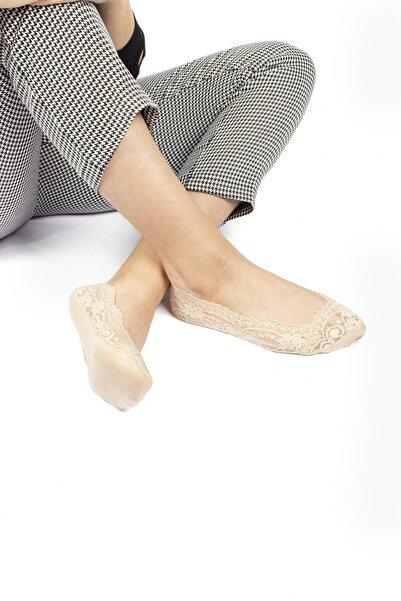 Dr.socks Kadın Ten Dantelli Çiçek Desenli Penye Taban Babet Çorap Ayaktan Çıkmaz Esnek