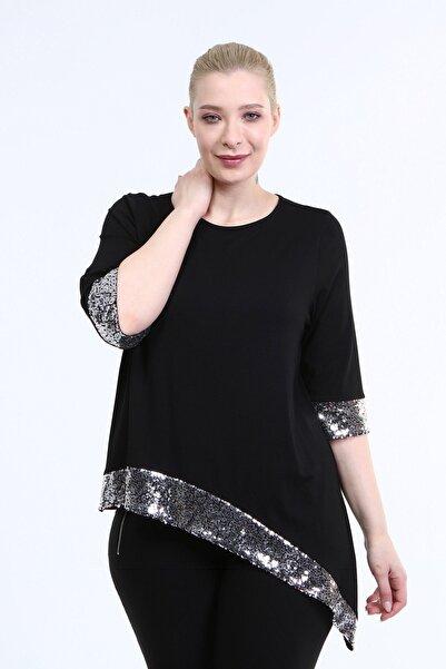 MYLİNE Kadın Siyah Asimetrik Payetli Penye Bluz
