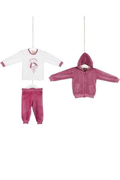 Aziz Bebe Kız Bebek Hırkalı 3lü Kadife Takım 3-24 Ay Azz003125