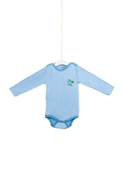 Aziz Bebe Erkek Bebek Mavi Little Dino Nakışlı Uzun Kollu Çıtçıtlı Body Azz001741