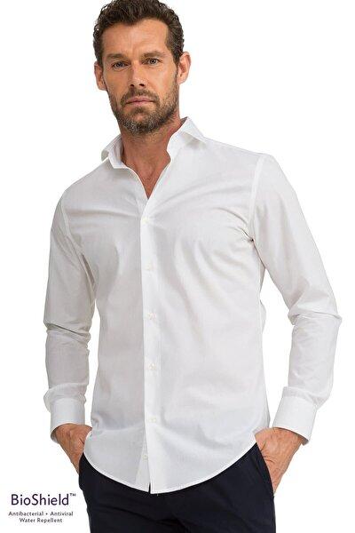 GIZA HOUSE Erkek Beyaz Slim Fit  Antibakteriyel Ve Sıvı Itici Bioshield™ Gömlek