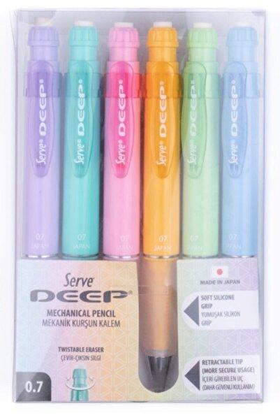 Serve Deep Mekanik Kurşun Kalem - Pastel Renkler 0.7 Mm - 6lı Set