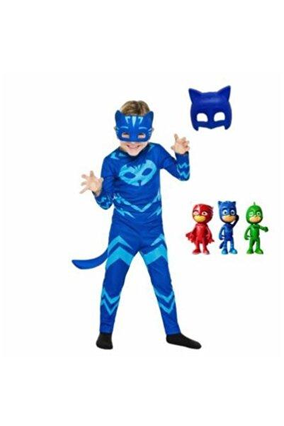 Tek Favorim Pija Maskeliler Catboy Kedi Çocuk Kostüm 2 Maskeli Pj Masks Kostüm Seti Ve 3'lü Mini Figür Oyuncak