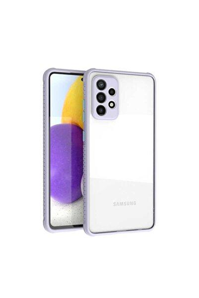 Samsung Cover Station Galaxy A52 Şeffaf Uyumlu Kenarları Renkli Darbe Emici Kamera Korumalı Kristal Kapak
