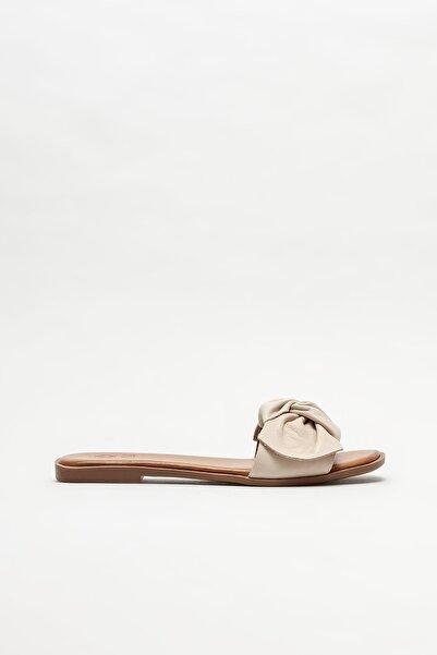 Elle Shoes Kadın Ekru Düz Terlik