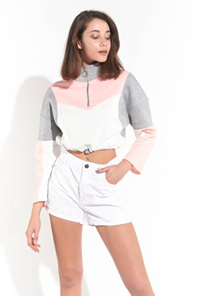Zechka Somon Üç Renk Parçalı Boğazı Fermuarlu Sweatshirt (ZCK0168)