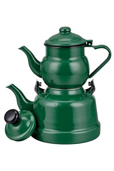 Ebru Metal Yeşil Emaye Nostaljik Orta Boy Çaydanlık Takımı (13-18)