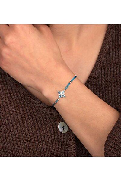 Else Silver Kadın Mavi Umut Çiçeği İpli Gümüş Bileklik