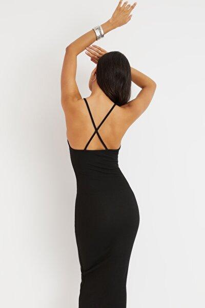 Cool & Sexy Kadın Siyah Sırtı Çapraz Kaşkorse Maxi Elbise Yİ2218