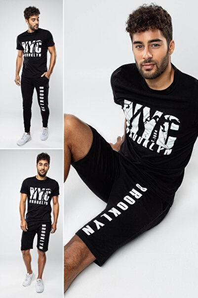 MyBen Erkek Siyah Damat Çeyizlik 3'lü Set Penye Pijama Takımı 5100