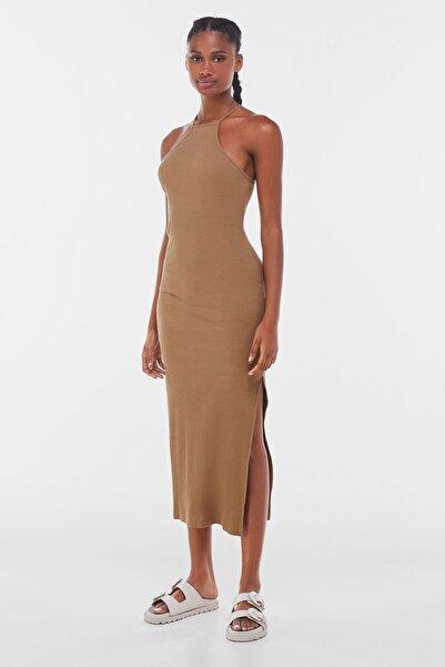 Bershka Kadın Kahverengi Fitilli Uzun Elbise