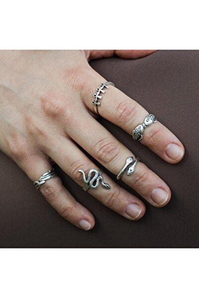 Zuk Collection Gümüş Kaplama Ayarlanabilir Model 5 Adet Kadın Eklem Yüzük Seti