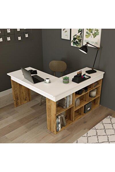 Yurudesign Tywin Kitaplık Raflı Çalışma Masası Çam-beyaz