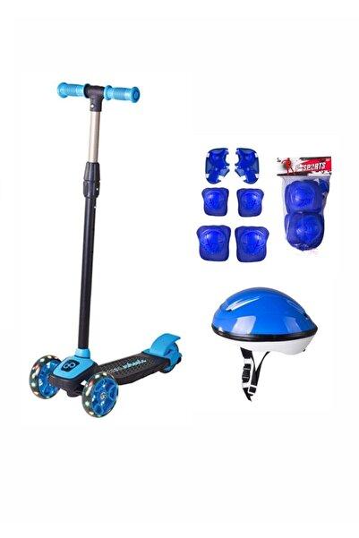 Cool Wheels Unisex Çocuk Mavi Led Işıklı 3 Tekerlekli Twist Scooter Full Set