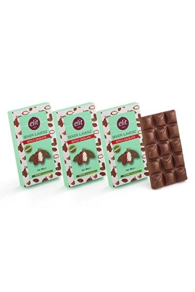 Elit Çikolata Şeker Ilavesiz Ve Prebiyotik Sütlü Çikolata 60g 3'lü Set (3X60G) Glutensiz