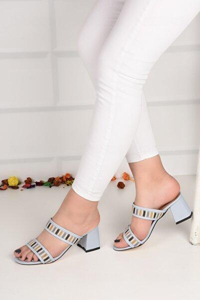 Weynes Kadın Turkuaz Desenli Sandalet Terlik