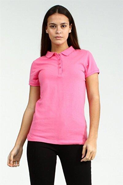 YÜCEL TİCARET Kadın Pembe Polo Yaka Kısa Kollu Basic Tshirt