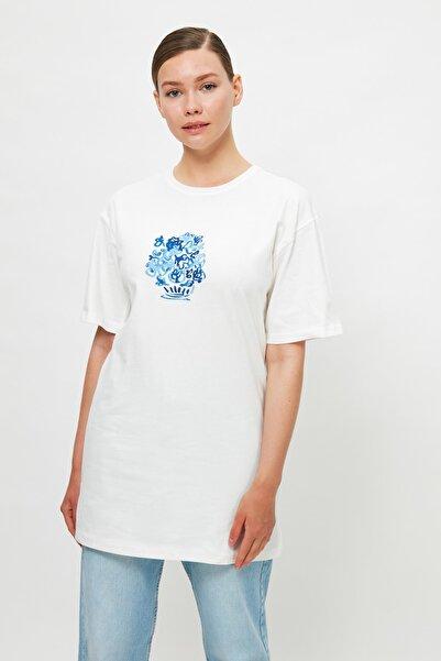 Trendyol Modest Açık Mavi Baskılı Kısa Kollu Süprem Örme Tesettür T-Shirt TCTSS21TN0217