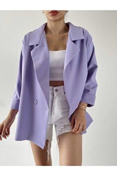 Kadın Lila Oversize Blazer Ceket