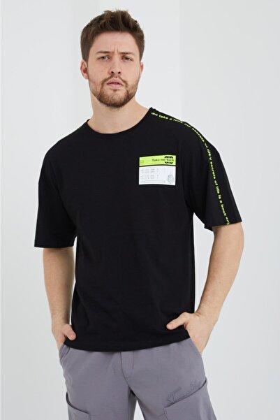 BREEZY Siyah Unisex Oversize Pamuklu Baskılı Tshirt Take Me Back