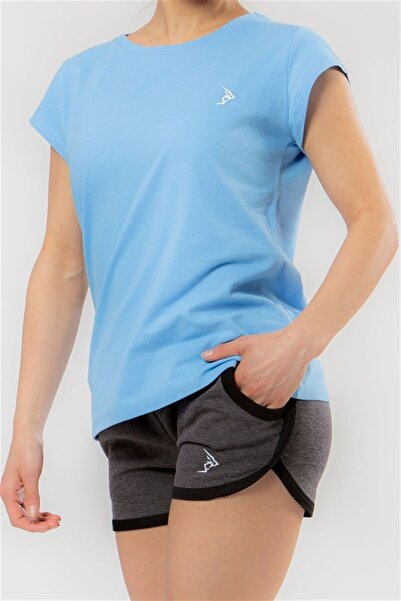 Gymlegend Kadın Açık Mavi Pike Kısa Kollu Basic Tişört