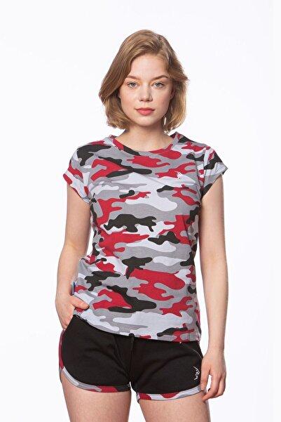 Gymlegend Kadın Kamuflaj Desenli Süprem Kısa Kollu Basic Tişört