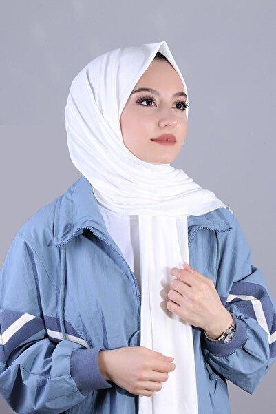 Quqqascarf Kadın Beyaz Penye Şal