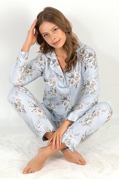 Doremi Blue Grace Uzun Kollu Kadın Pijama Takımı