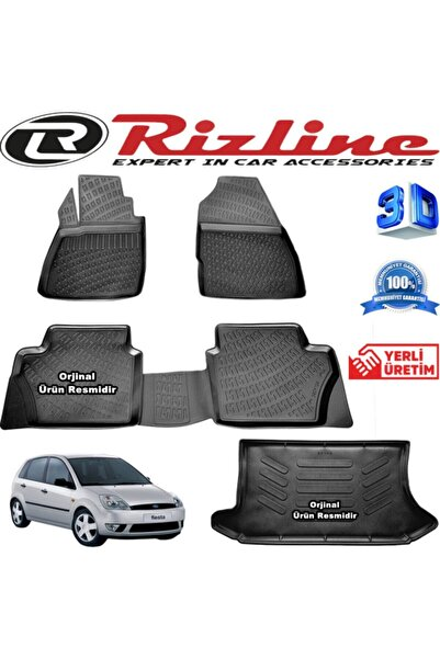 Rizline Ford Fiesta 3d Paspas + 3d Bagaj Havuzu 2002-2008 Arası Siyah Set