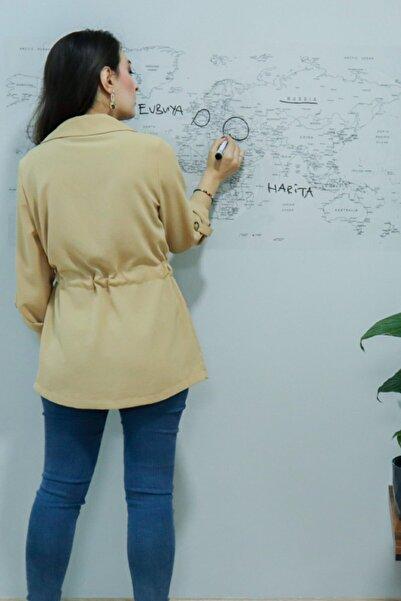 Evbuya Dünya Haritası Statik Tutunabilir Yapışkansız Akıllı Kağıt Silgili Kalem