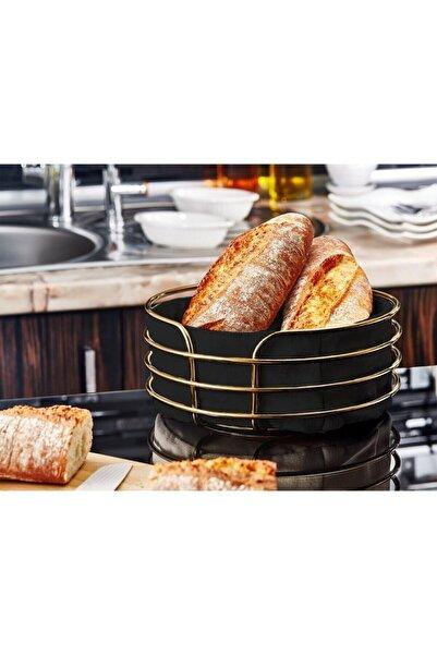 Reona Yuvarlak Ekmeklik Ekmek Sepeti Çok Amaçlı Lüx Gold Paslanmaz Sepet Siyah Kumaş