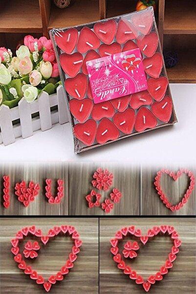 Parti dolabı Tealight Mum 50'li Kalpli Kırmızı Yer Mumu Evlilik Teklifi Yıldönümü Süsleme