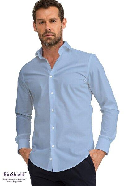 GIZA HOUSE Erkek Mavi Slim Fit Antibakteriyel Ve Sıvı Itici Bioshield™ Gömlek