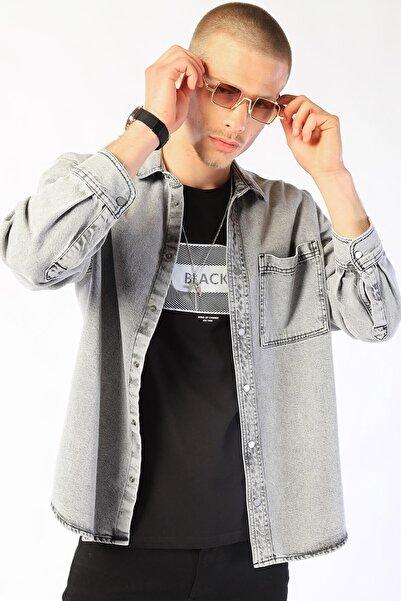 Twister Jeans Erkek Gri Oversıze Kot Ceket Eg 1805-03
