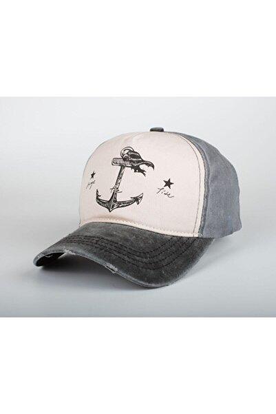 DMONA Gri Denizci Çapa Eskitme Balıkçı Şapka