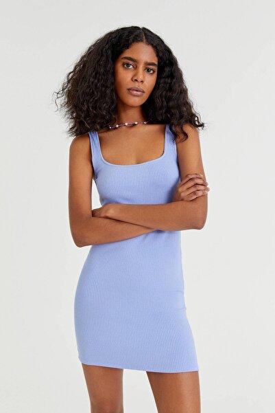 Pull & Bear Vücuda Oturan Fitilli Mini Elbise