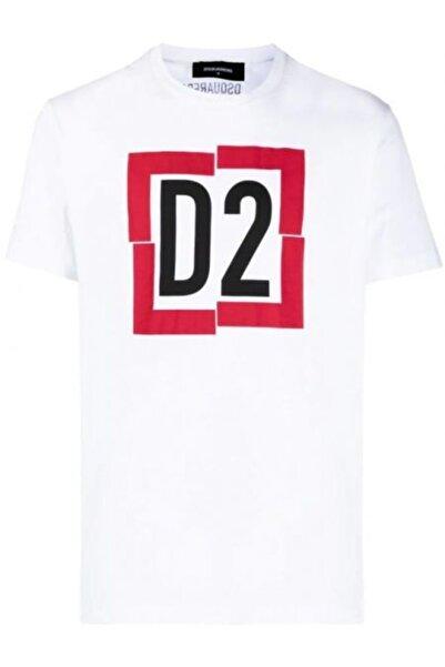 DSquared2 Erkek Beyaz Baskılı T-shirt