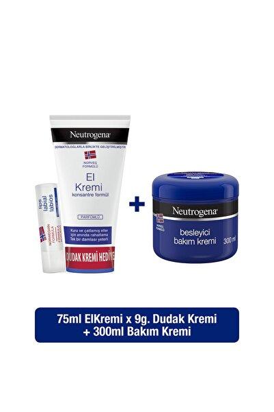 Neutrogena Parfümlü El Kremi 75 ml + Besleyici Bakım Kremi 300 ml +Dudak Kremi Hediyeli