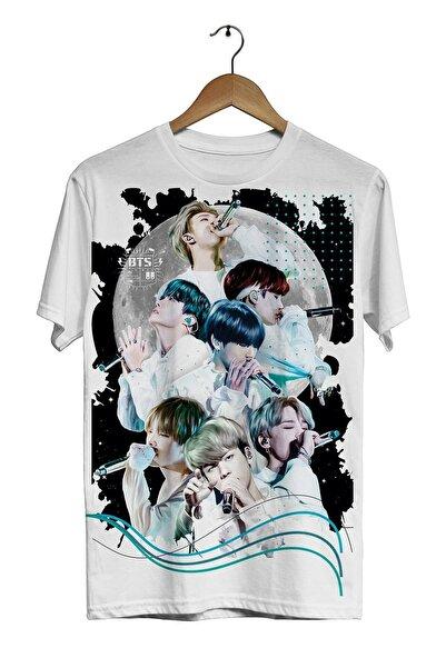 Adviye Design Bts -Moon- Dijital Baskılı Beyaz Unisex T-shirt