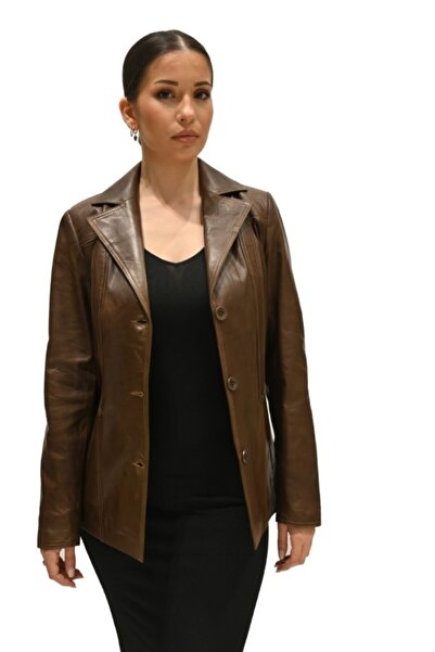 Derihouse Kadın Kahverengi Kırlangıç Yaka Deri Ceket