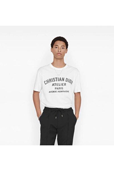 Fendy Erkek Beyaz Baskılı Bisiklet Yaka Tshirt