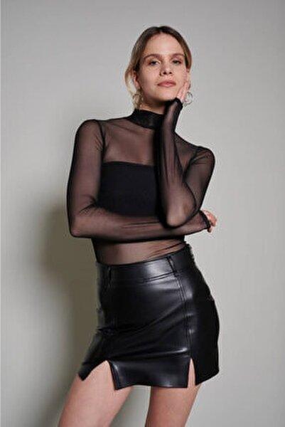 Siyah Boğazlı Tül Bluz (ZCK0201)